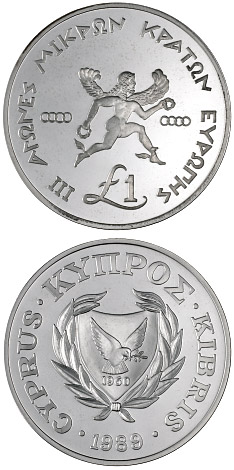 Image of 1 pound coin - III Games of the Small States of Europe | Cyprus 1989.  The Silver coin is of Proof quality.