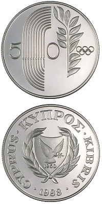 50 Cents Coin Seoul Olympic Games Cyprus 1988