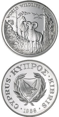 Image of 1 pound coin - 25th Anniversary of the World Wildlife Fund | Cyprus 1986.  The Silver coin is of Proof quality.