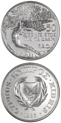 Image of a coin 50 cents | Cyprus | International Year of the Forest (F.A.O.) | 1985