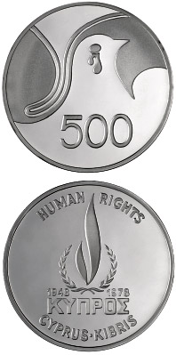Image of 500 mils  coin - Human Rights | Cyprus 1978.  The Silver coin is of Proof quality.