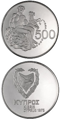Image of 500 mils  coin - Collector coin | Cyprus 1975.  The Silver coin is of Proof quality.