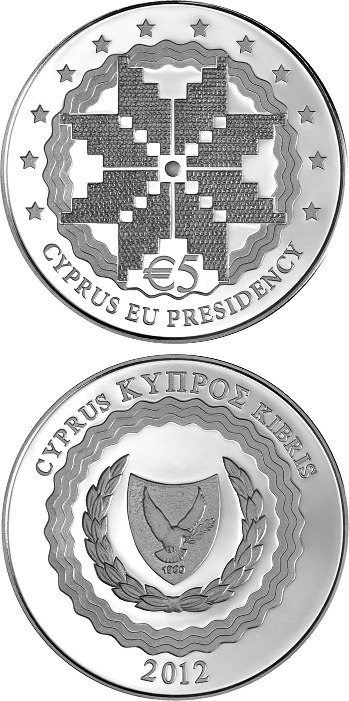 Image of Cyprus Presidency of the Council of the EU – 5 euro coin Cyprus 2012.  The Silver coin is of Proof quality.