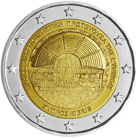 Image of 2 euro coin - Paphos - the European Capital of Culture | Cyprus 2017