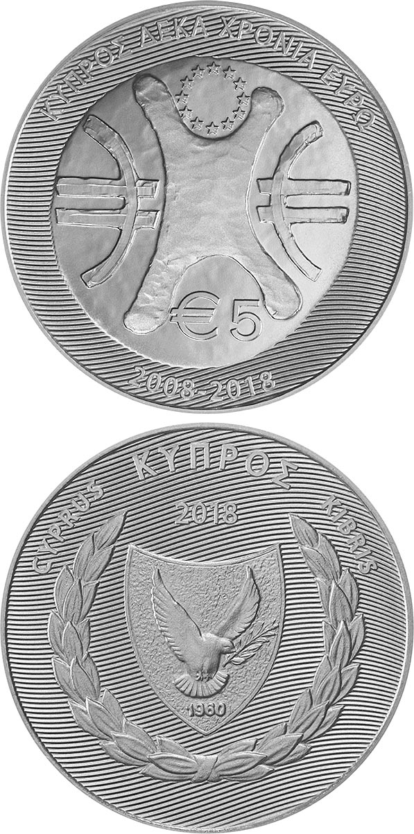 Image of 5 euro coin - Cyprus - 10 Years of the Euro | Cyprus 2018.  The Silver coin is of Proof quality.