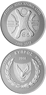 5 euro coin Cyprus - 10 Years of the Euro | Cyprus 2018