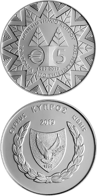 Image of 5 euro coin - 30th Anniversary of the founding of the University of Cyprus | Cyprus 2019.  The Silver coin is of Proof quality.