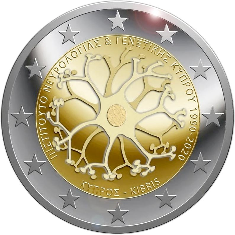 Image of 2 euro coin - 30 Years of the Cyprus Institute of Neurology and Genetics | Cyprus 2020