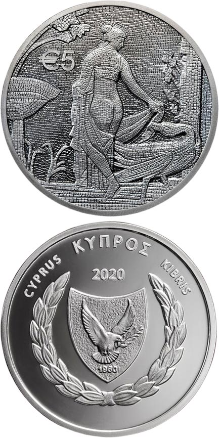 Image of 5 euro coin - Leda and the Swan | Cyprus 2020.  The Silver coin is of Proof quality.