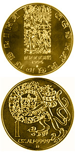 Image of Pragergroschen  – 10000 koruna coin Czech Republic 1996.  The Gold coin is of Proof, BU quality.