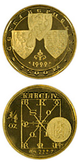 2500 koruna coin The issuing of the Bohemian Crown legal documents in 1348  | Czech Republic 1998