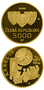 5000 koruna coin The founding of Charles University in 1348  | Czech Republic 1998