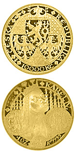 10000 koruna coin The founding of Prague´s New Town in 1348  | Czech Republic 1998