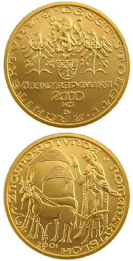 Image of Romanesque - rotunda in Znojmo – 2500 koruna coin Czech Republic 2001.  The Gold coin is of Proof, BU quality.