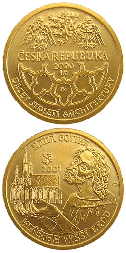 Image of 2500 koruna coin - Early Gothic - monastery in Vyšší Brod | Czech Republic 2001.  The Gold coin is of Proof, BU quality.