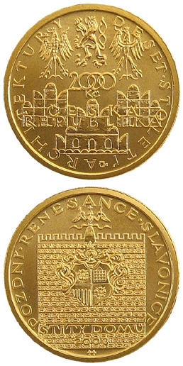 Image of 2500 koruna coin - Late Renaissance - house gables in Slavonice | Czech Republic 2003.  The Gold coin is of Proof, BU quality.