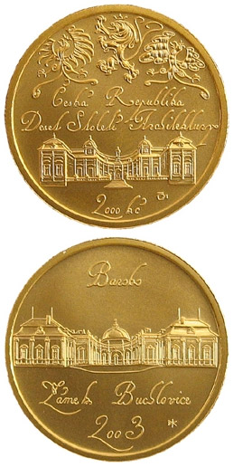Image of 2500 koruna coin – Baroque - castle Buchlovice | Czech Republic 2003.  The Gold coin is of Proof, BU quality.