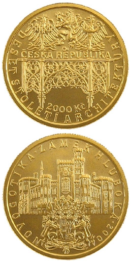 Image of 2500 koruna coin - Neo-Gothic - Hluboká Castle | Czech Republic 2004.  The Gold coin is of Proof, BU quality.