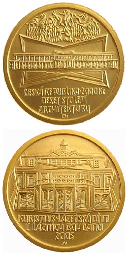 Image of 2500 koruna coin - Cubism - spa building in Lázně Bohdaneč | Czech Republic 2005.  The Gold coin is of Proof, BU quality.