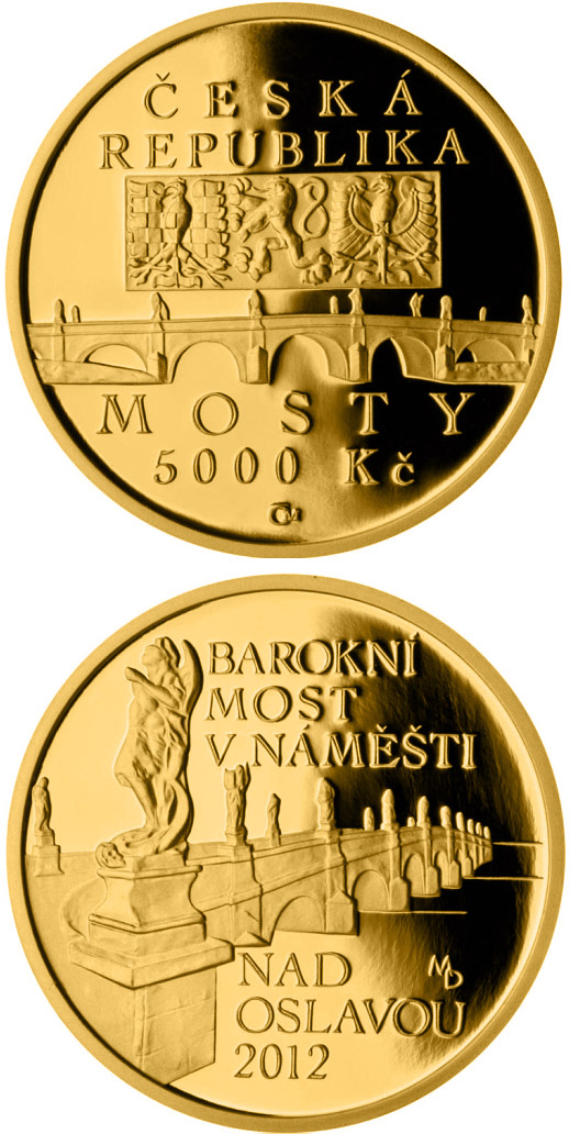 Image of 5000 koruna coin – Baroque bridge in Náměšť nad Oslavou | Czech Republic 2012.  The Gold coin is of Proof, BU quality.