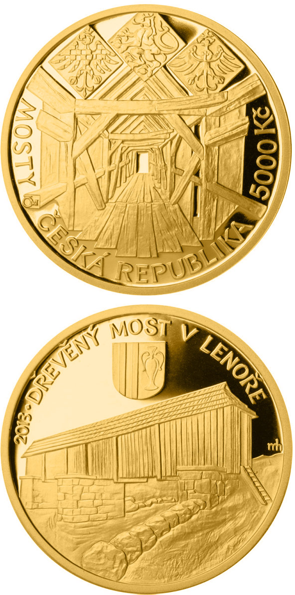 Image of 5000 koruna coin - Wooden bridge in Lenora  | Czech Republic 2013.  The Gold coin is of Proof, BU quality.