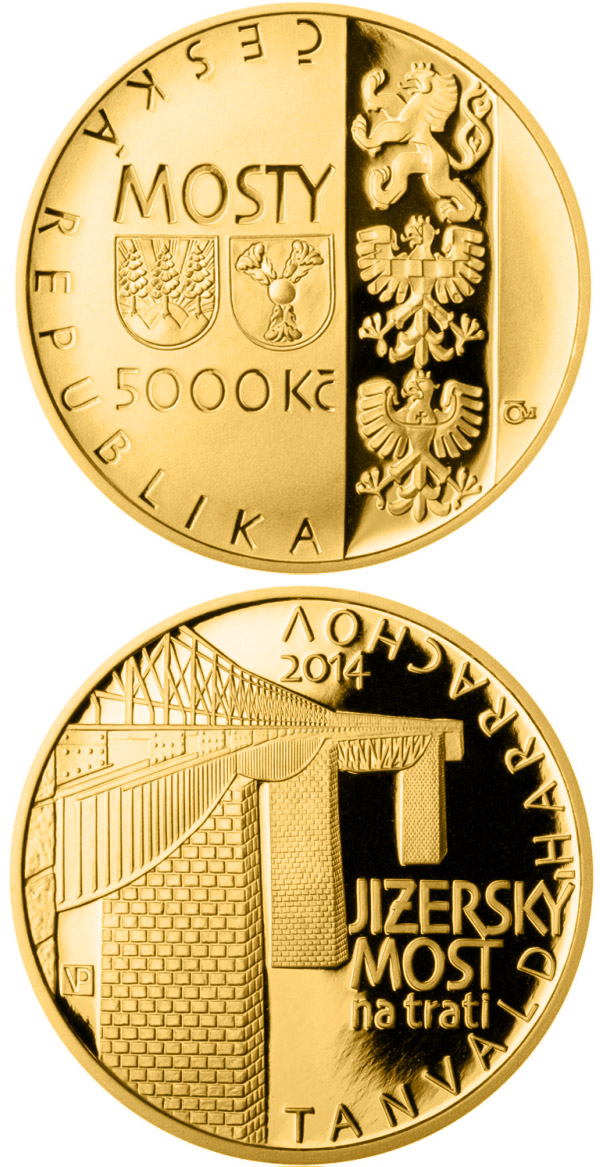Image of 5000 koruna coin – Jizerský Viaduct on railroad between Tanvald and Harrachov | Czech Republic 2014.  The Gold coin is of Proof, BU quality.