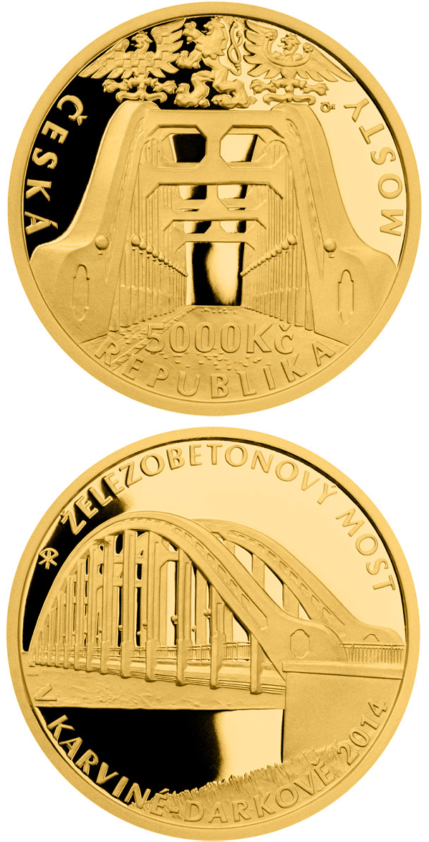 Image of 5000 koruna coin - Ferroconcrete bridge in Karviná-Darkov  | Czech Republic 2014.  The Gold coin is of Proof, BU quality.