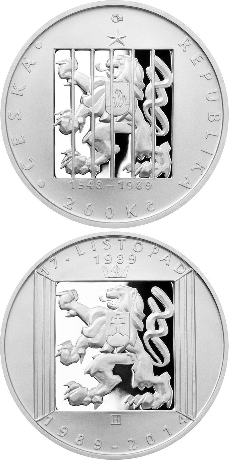 Image of 200 koruna coin – 25th Anniversary of 17 November 1989 | Czech Republic 2014.  The Silver coin is of Proof, BU quality.