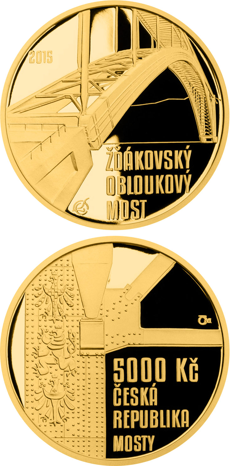 Image of 5000 koruna coin Žďákov arch bridge | Czech Republic 2015.  The Gold coin is of Proof, BU quality.