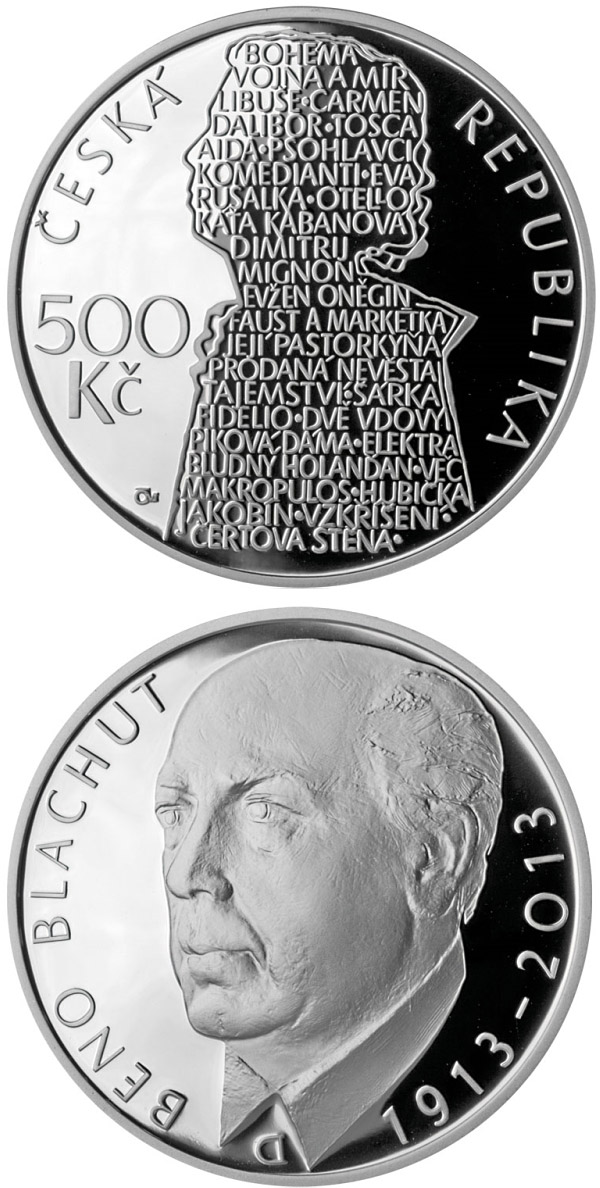 Image of a coin 500 korun | Czech Republic | Birth of opera singer Beno Blachut | 2013
