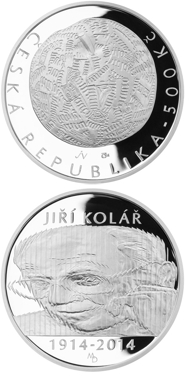 Image of 500 koruna coin – Birth of artist and writer Jiří Kolář | Czech Republic 2014.  The Silver coin is of Proof, BU quality.