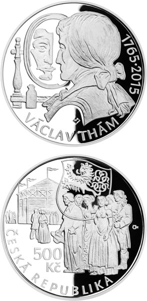 Image of 500 koruna coin - Birth of poet and playwright Václav Thám | Czech Republic 2015.  The Silver coin is of Proof, BU quality.