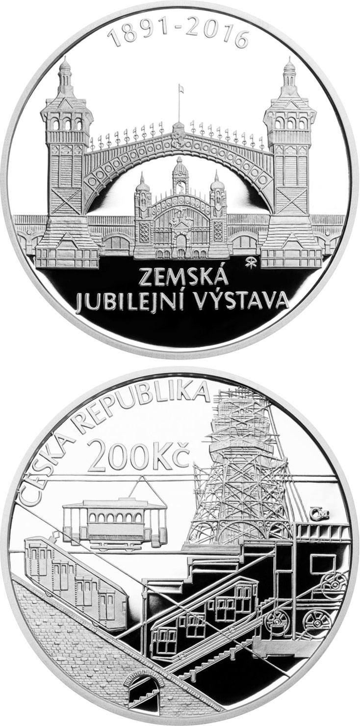 Image of 200 koruna coin - 125th anniversary of the General Land Centennial Exhibition | Czech Republic 2016.  The Silver coin is of Proof, BU quality.