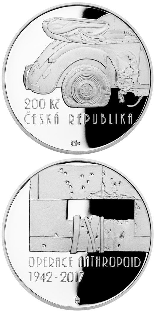 Image of 200 koruna coin - Operation Anthropoid | Czech Republic 2017.  The Silver coin is of Proof, BU quality.