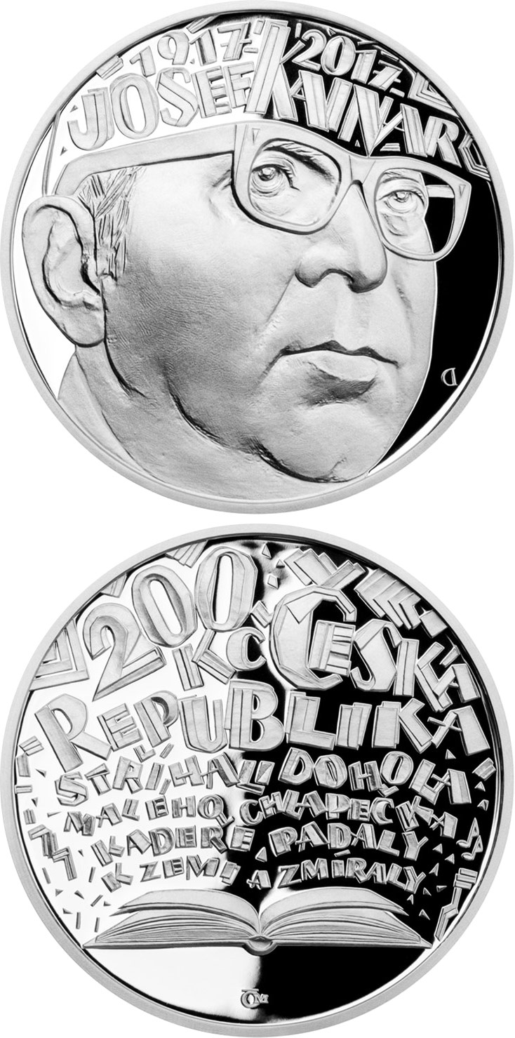 Image of 200 koruna coin - Birth of Josef Kainar | Czech Republic 2017.  The Silver coin is of Proof, BU quality.