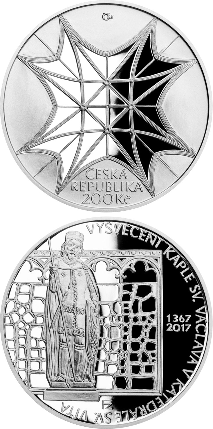 Image of 200 koruna coin - Consecration of Saint Wenceslas Chapel in Saint Vitus Cathedral | Czech Republic 2017.  The Silver coin is of Proof, BU quality.