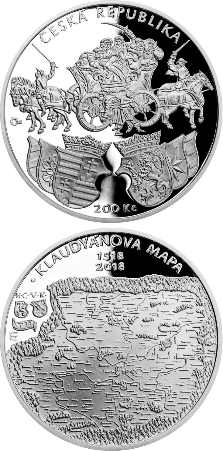 Image of 200 koruna coin - Issuance of Klaudyán map (first map of Bohemia) | Czech Republic 2018.  The Silver coin is of Proof, BU quality.