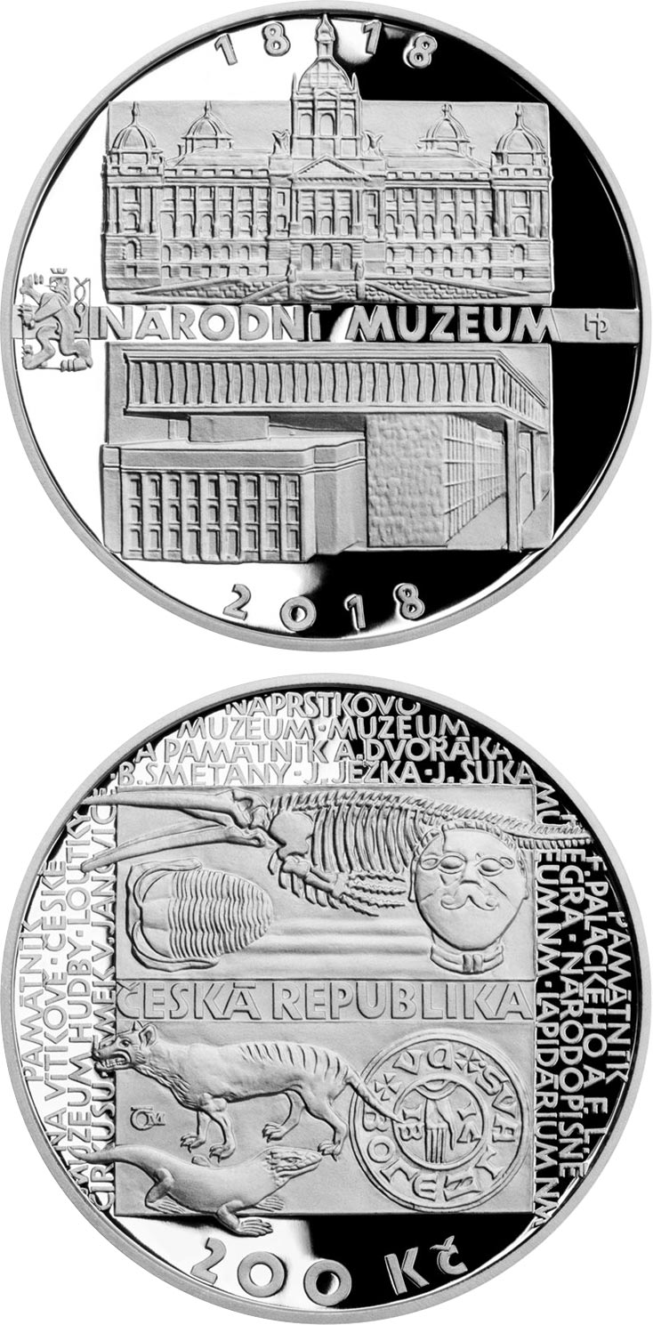 Image of 200 koruna coin – Foundation of National Museum  | Czech Republic 2018.  The Silver coin is of Proof, BU quality.