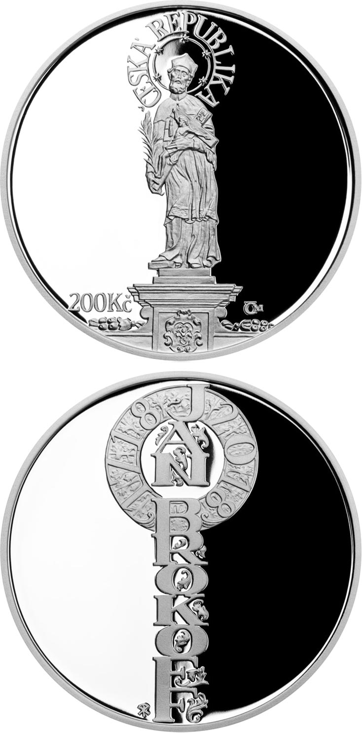 Image of 200 koruna coin - Death of Jan Brokoff | Czech Republic 2018.  The Silver coin is of Proof, BU quality.