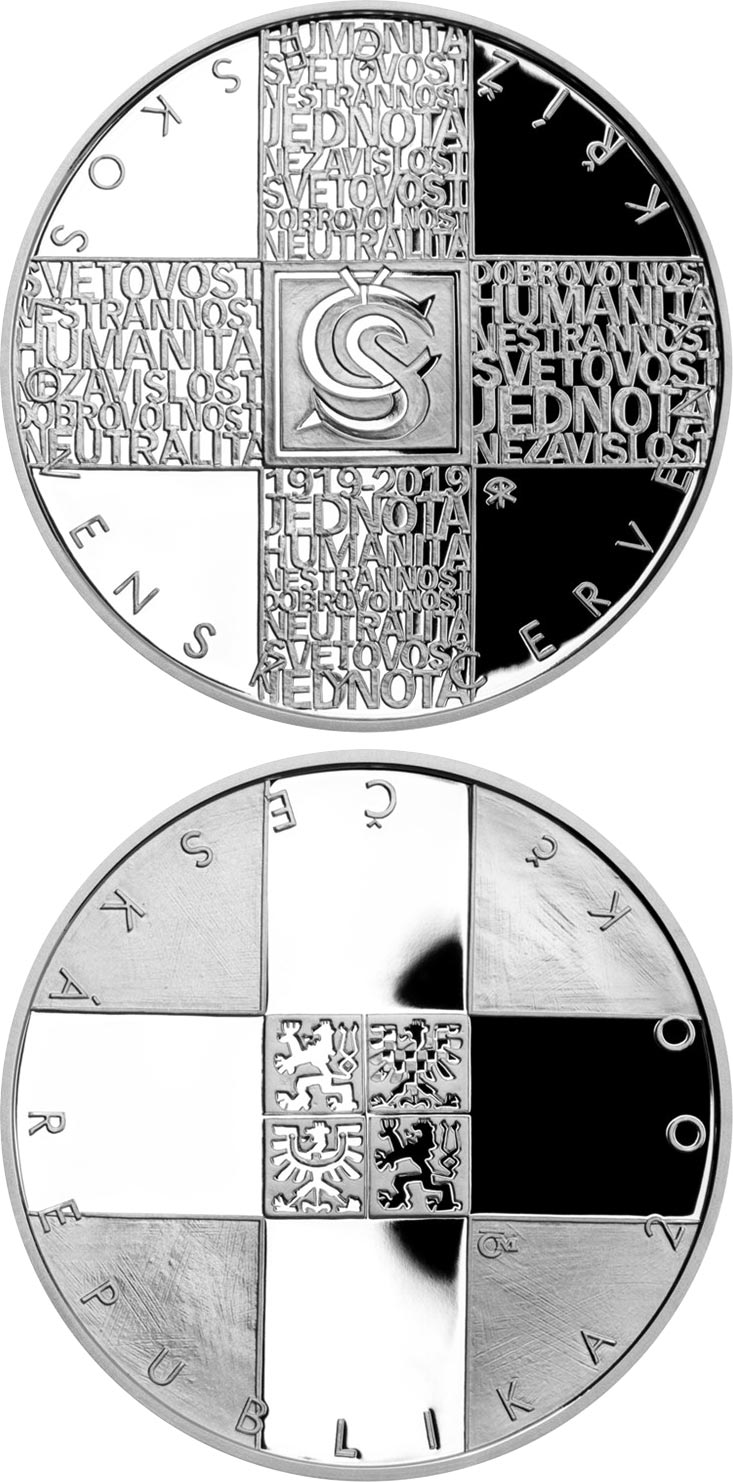 Image of 200 koruna coin – Foundation of Czechoslovak Red Cross | Czech Republic 2019.  The Silver coin is of Proof, BU quality.