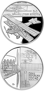200 koruna coin Construction of Bohemia B-5 (first Czech-produced aeroplane) | Czech Republic 2019
