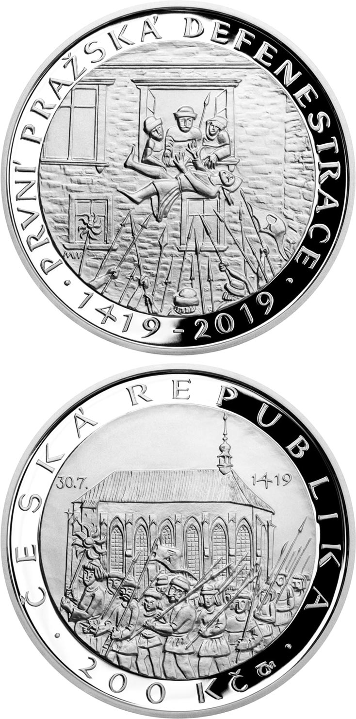 Image of 200 koruna coin - First defenestration in Prague | Czech Republic 2019.  The Silver coin is of Proof, BU quality.