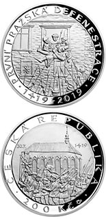200 koruna coin First defenestration in Prague | Czech Republic 2019