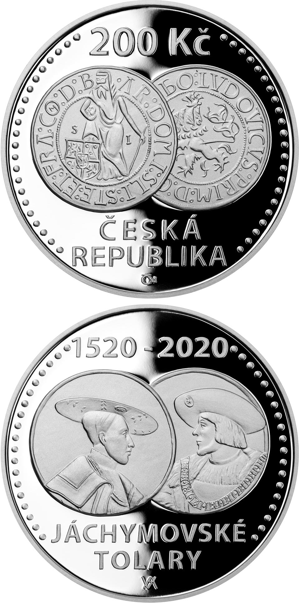 Image of 200 koruna coin - Start of minting of Jáchymov thaler  | Czech Republic 2020.  The Silver coin is of Proof, BU quality.
