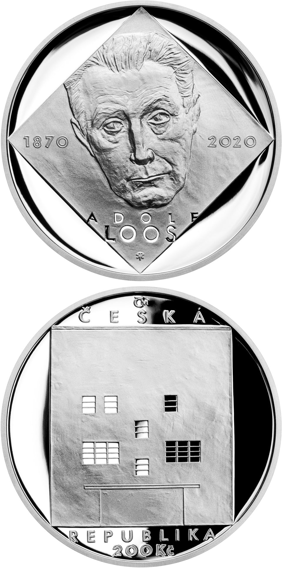 Image of 200 koruna coin - Birth of Adolf Loos | Czech Republic 2020.  The Silver coin is of Proof, BU quality.