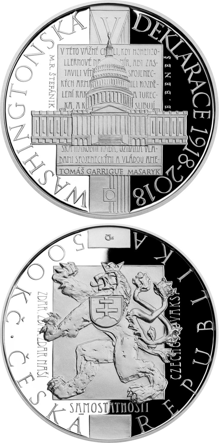 Image of 500 koruna coin - Adoption of Washington Declaration | Czech Republic 2018.  The Silver coin is of Proof, BU quality.