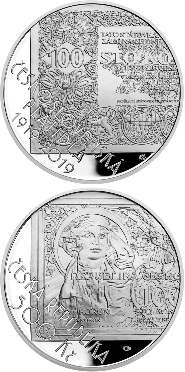 Image of 500 koruna coin - Creation of Czechoslovak currency | Czech Republic 2019.  The Silver coin is of Proof, BU quality.