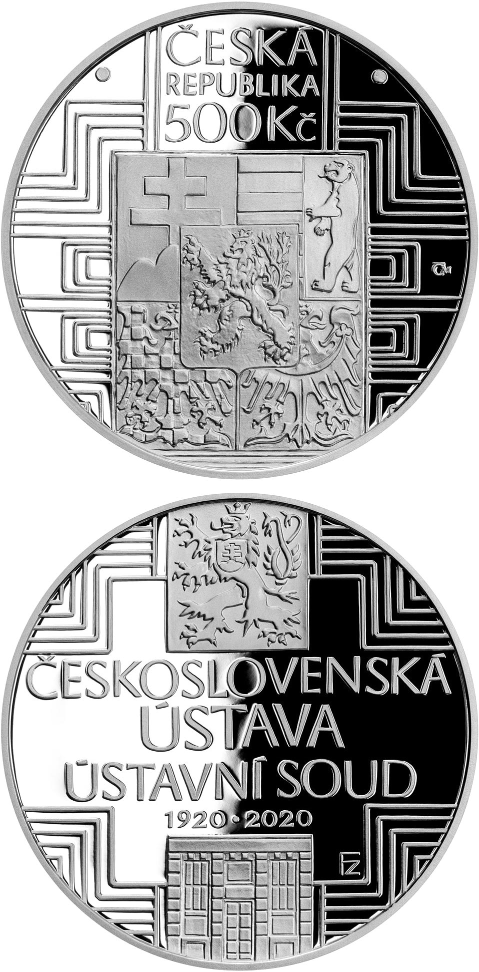 Image of 500 koruna coin - Adoption of Czechoslovak Constitution | Czech Republic 2020.  The Silver coin is of Proof, BU quality.