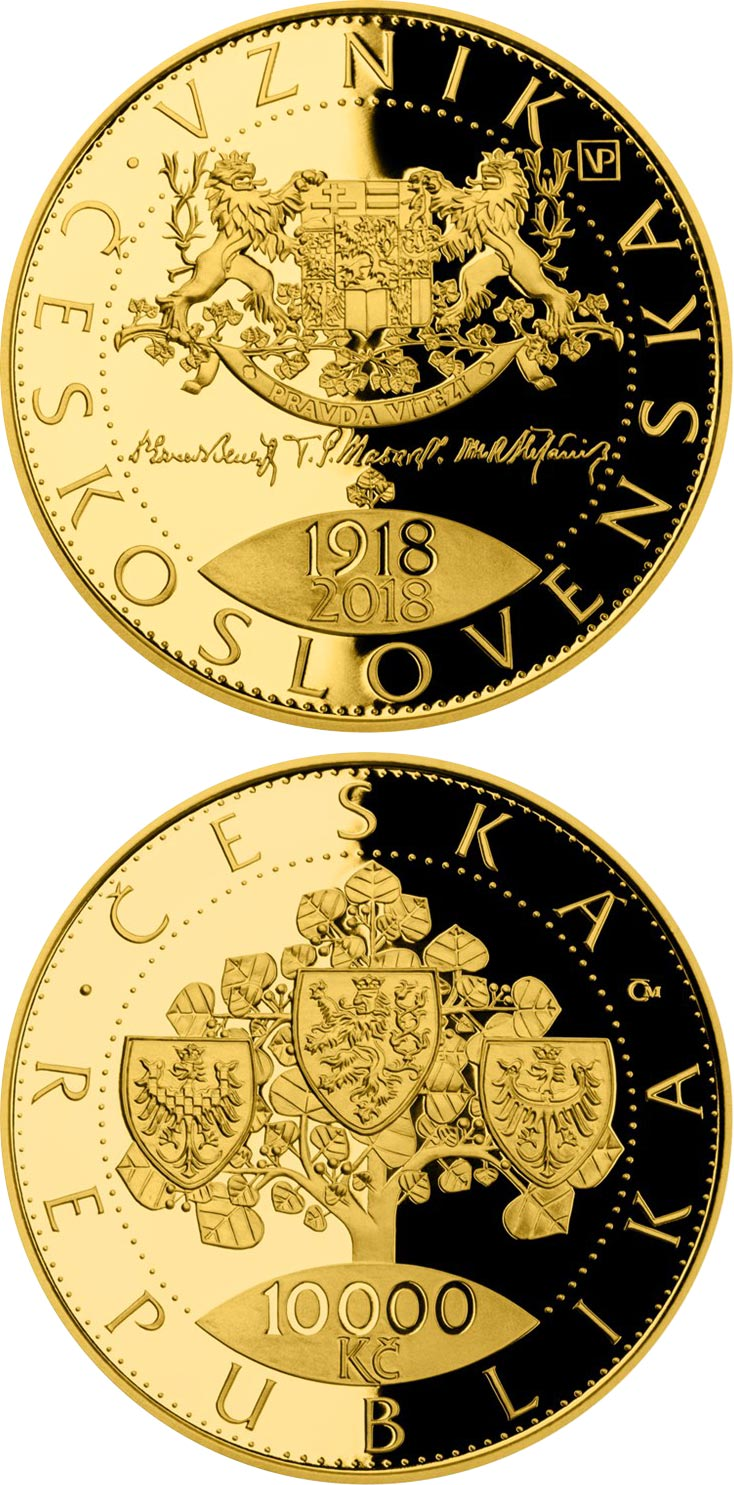Image of 10000 koruna coin - Foundation of Czechoslovakia  | Czech Republic 2018.  The Gold coin is of Proof, BU quality.