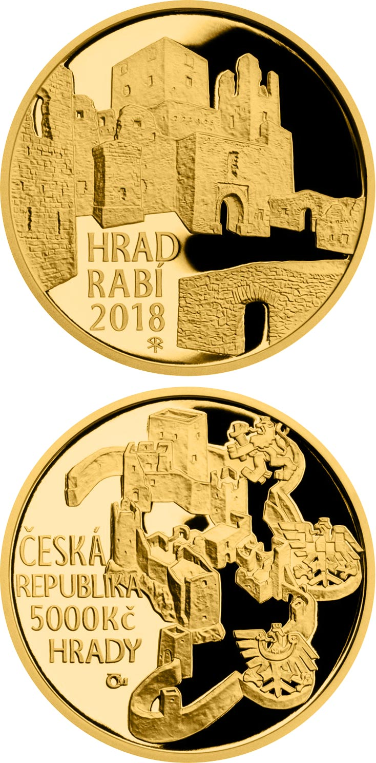 Image of 5000 koruna coin - Rabí | Czech Republic 2018.  The Gold coin is of Proof, BU quality.